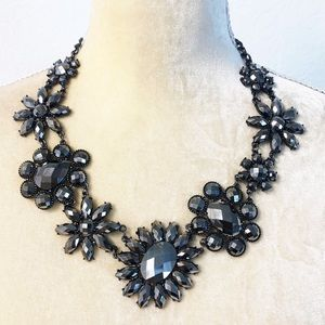 Gunmetal Gray Chunky Floral Statement Necklace